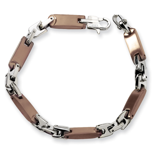 Stainless Steel Chocolate Plated Bracelet 8.25in