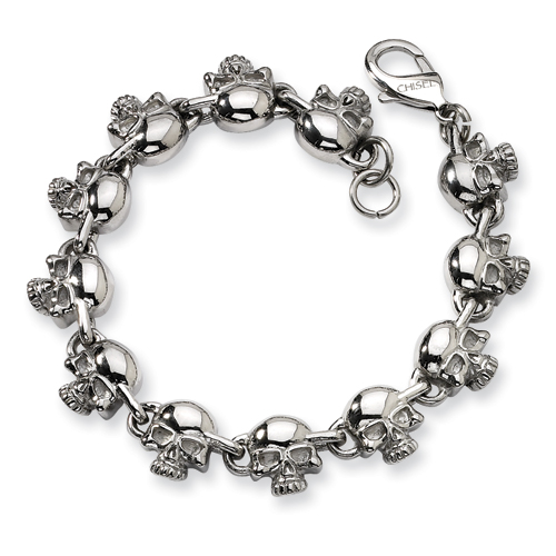 Stainless Steel 8in Skull Charm Bracelet