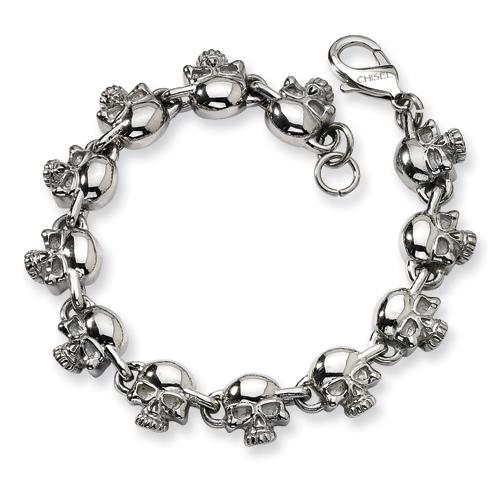 Stainless Steel 8in Skull Charm Bracelet