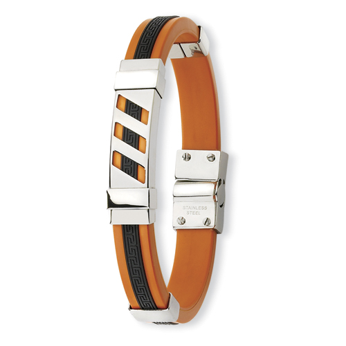 Stainless Steel Black and Orange Rubber Bracelet 8in
