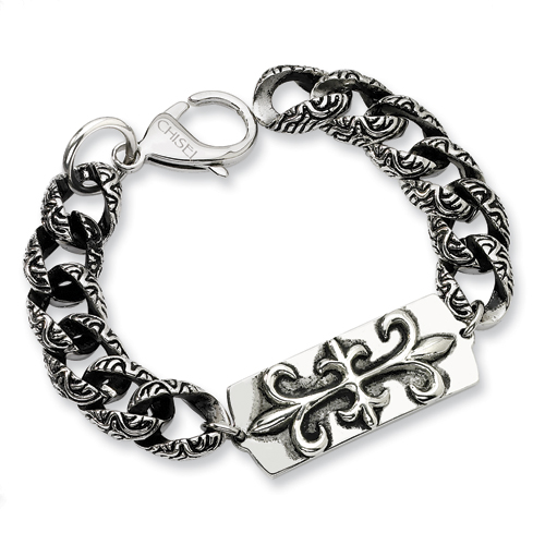 Stainless Steel 8.5in Antiqued Gothic Bracelet