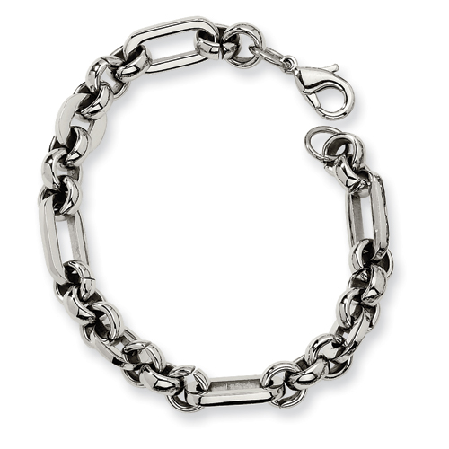 Stainless Steel Fancy Link Bracelet 7.5in