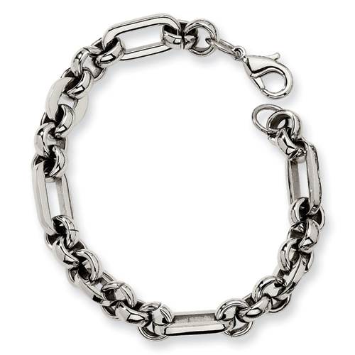 7 1/2in Stainless Steel Fancy Link Bracelet