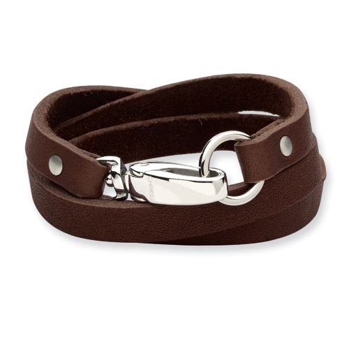 25in Brown Leather Wrap Bracelet