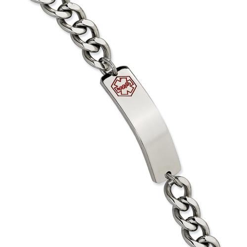 Stainless Steel 9.5in Curb Link Medical Bracelet