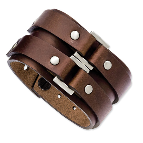 9 1/4in Stainless Steel Brown Leather Bracelet with Metal Accents