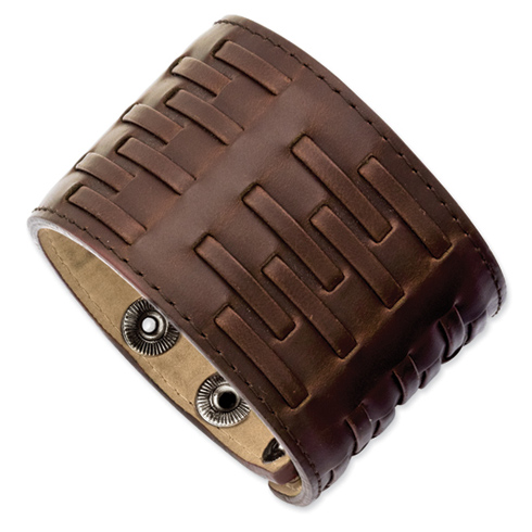 9 1/2in Stainless Steel Adjustable Brown Leather Bracelet