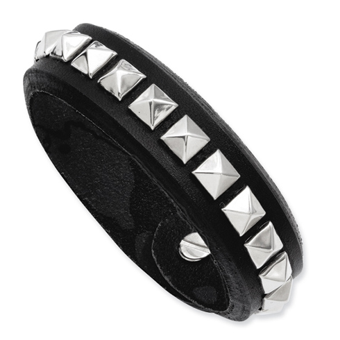 9in Black Leather Bracelet with Stainless Steel Studs