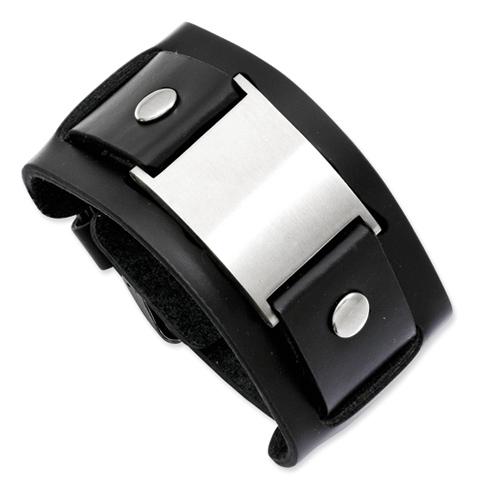 10in Stainless Steel Adjustable Black Leather Buckle Bracelet