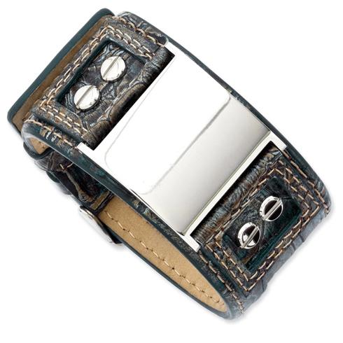 9 3/4in Dark Blue Leather Bracelet with Adjustable Buckle