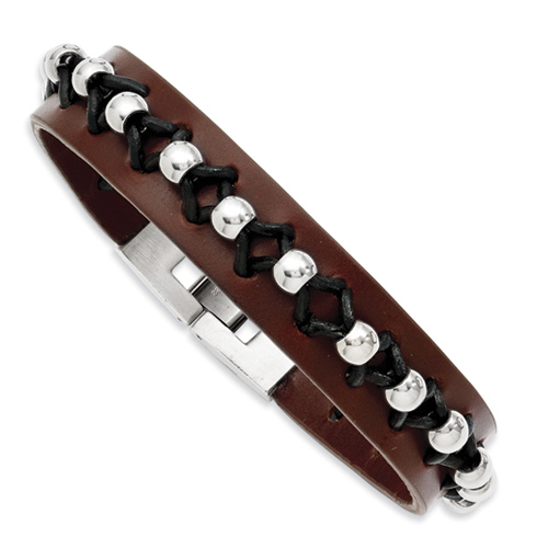 8 1/2in Brown Leather Bracelet with Polished Steel Beads