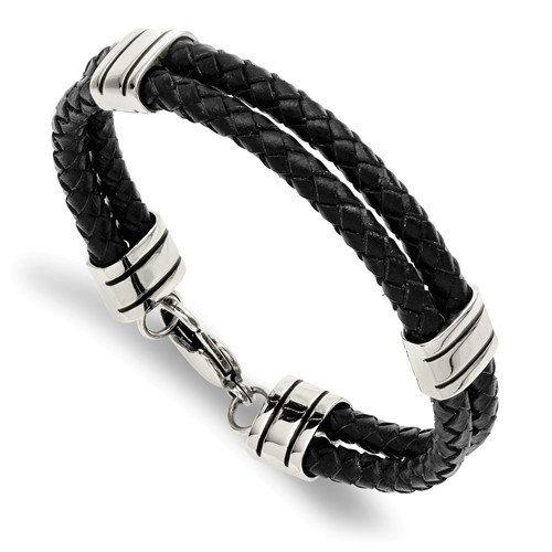 Stainless Steel Black Leather Two Strand Bracelet 9in
