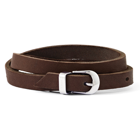 8 1/2in Brown Leather Bracelet with Buckle Clasp