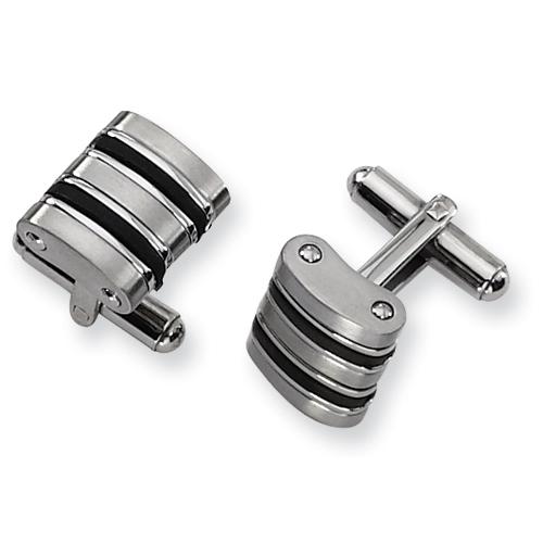 Stainless Steel Black Rubber Cufflinks
