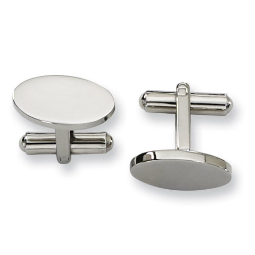 Stainless Steel Smooth Oval Cufflinks