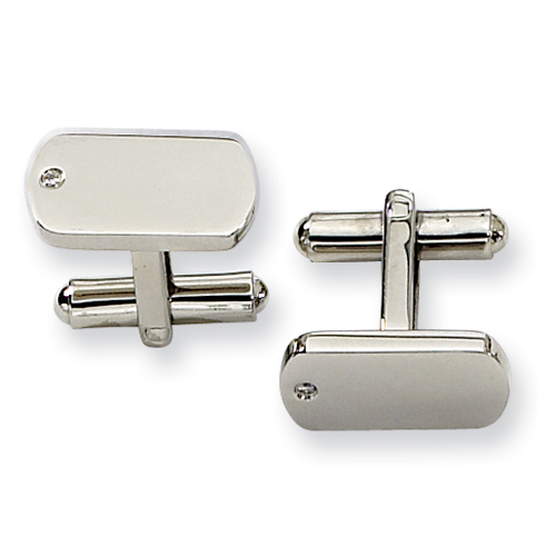 Diamond Accent Stainless Steel Cufflinks