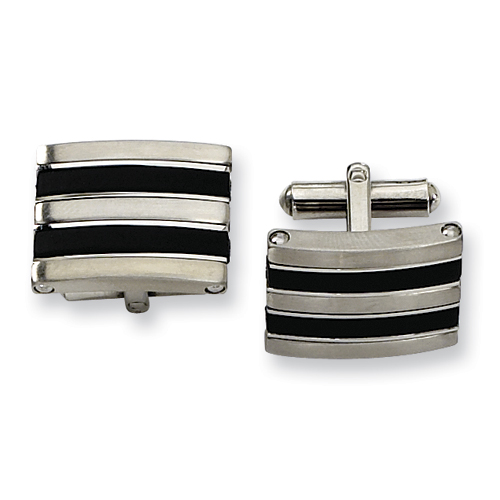 Black-Plated Stainless Steel Cufflinks