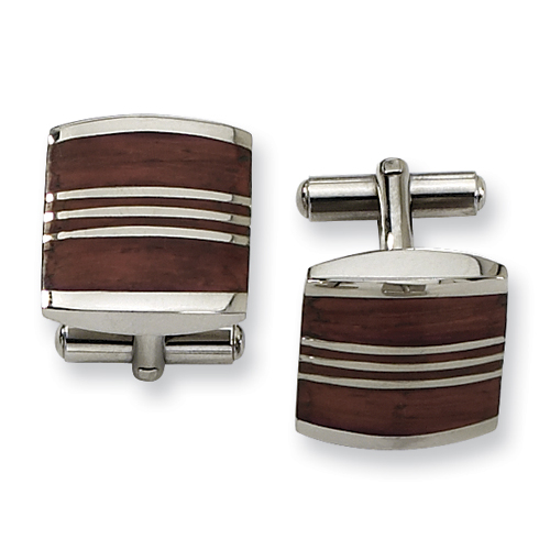 Brown Wood and Stainless Steel Cufflinks