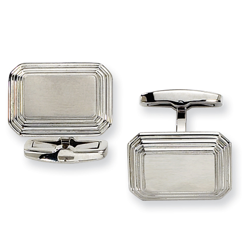 Stainless Steel Cufflinks with Ridged Edges