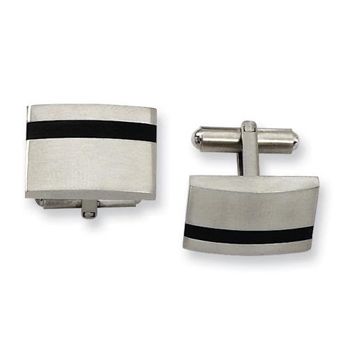 Stainless Steel Cufflinks with Black Stripe