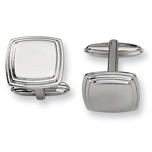Stainless Steel Oblong Cufflinks with Step Down Border