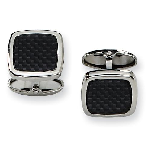 Black Carbon Fiber Stainless Steel Oblong Cufflinks