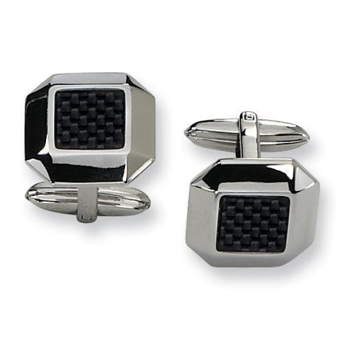Black Carbon Fiber Stainless Steel Cufflinks