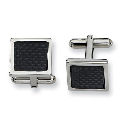 Black Carbon Fiber Stainless Steel Cufflinks