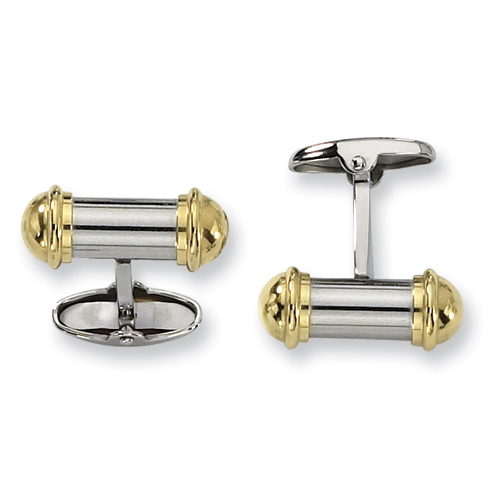 Stainless Steel Cufflinks - 24k Gold Plated
