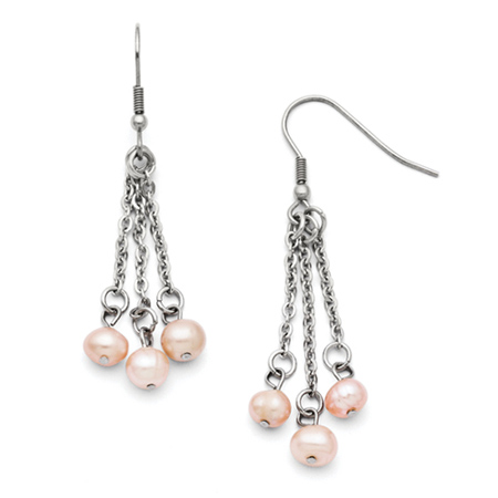 Stainless Steel 3 Strand Freshwater Cultured Pearl Earrings
