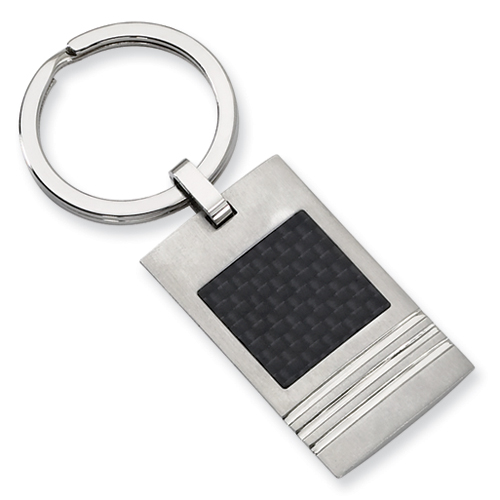 Stainless Steel Brushed Key Chain with Carbon Fiber