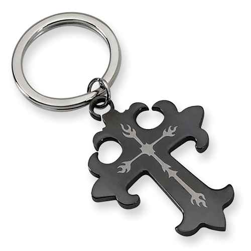 Stainless Steel Cross Key Chain