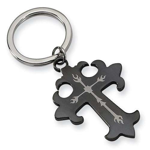 Stainless Steel Cross Key Chain
