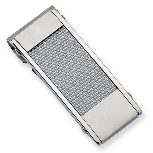 Stainless Steel Gray Carbon Fiber Money Clip