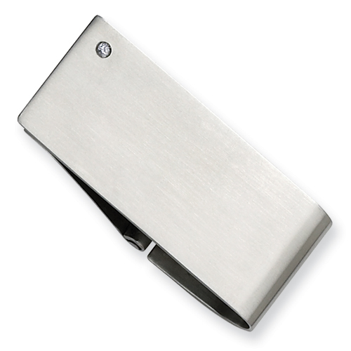 Stainless Steel Diamond Accent Money Clip