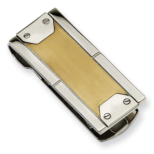 Stainless Steel 24kt Yellow Gold Plated Money Clip with Screw Accents