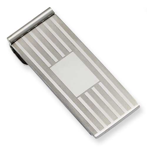 Stainless Steel Brushed Striped Money Clip
