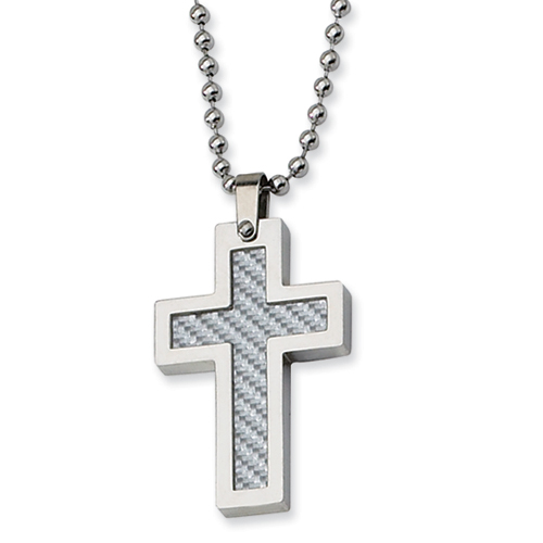 Stainless Steel Gray Carbon Fiber Cross 1 1/8in with Bead Chain