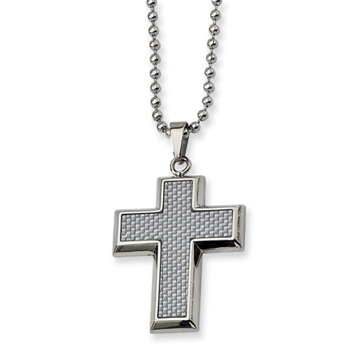 Stainless Steel Cross 1 1/4in with Bead Chain