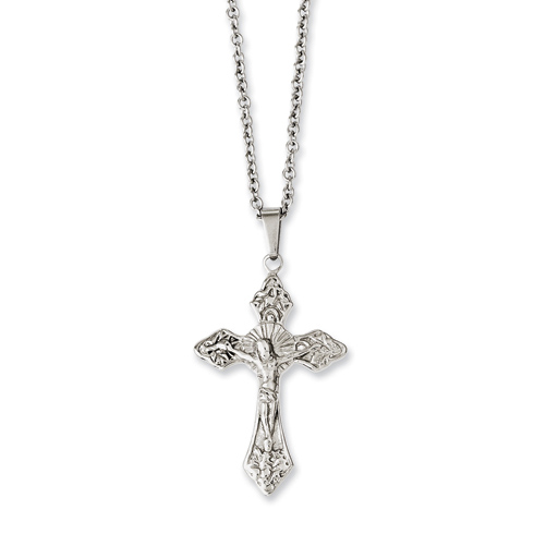 Stainless Steel 1 1/4in Crucifix Necklace