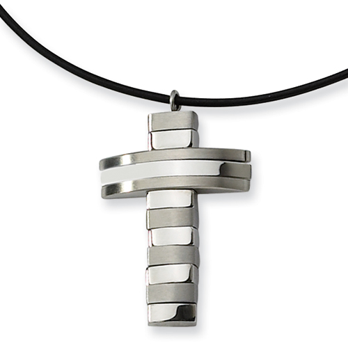 Stainless Steel Cross 1 3/8in with Leather Cord
