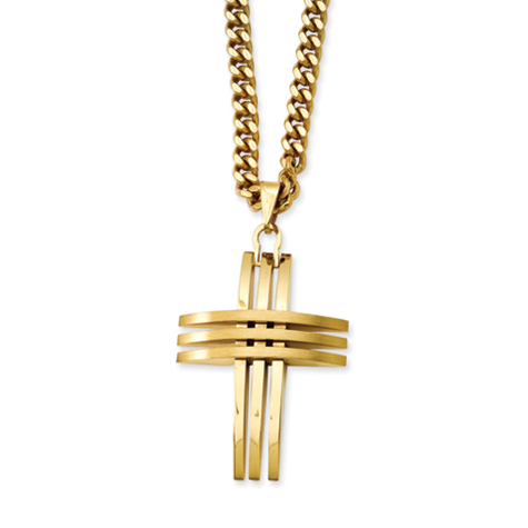 Gold-Plated Stainless Steel 1 5/8in Slotted Cross on 24in Chain