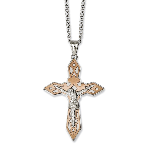 Stainless Steel 2 1/4in Chocolate-plated Crucifix Necklace