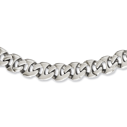 Stainless Steel Rounded Link 24in Necklace