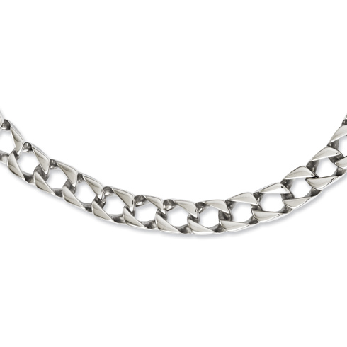 Stainless Steel Polished Square Link 24in Necklace