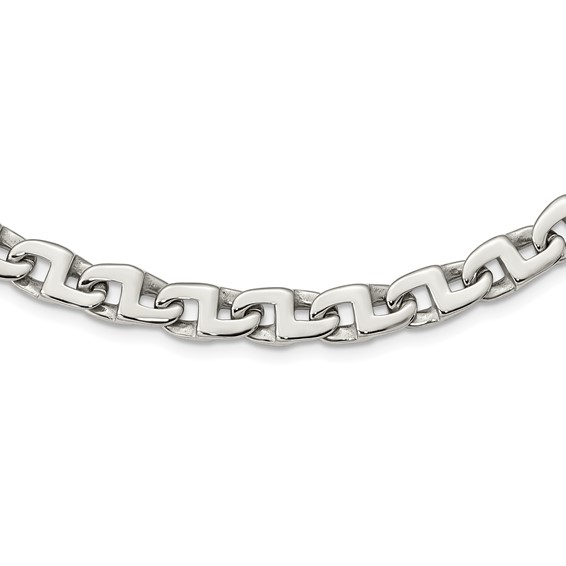 Stainless Steel Fancy Squares Link 24in Necklace