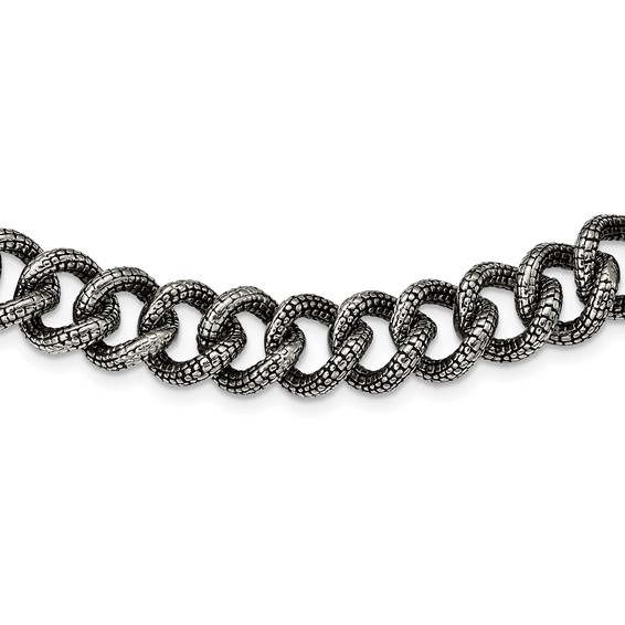 Stainless Steel Antiqued and Textured Links 24in Necklace