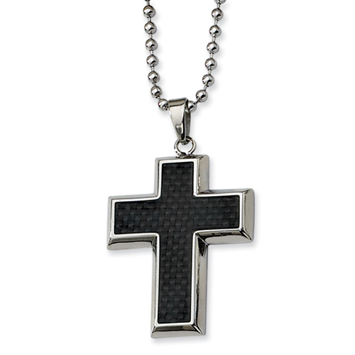 Stainless Steel 1 1/4in Carbon Fiber Cross with 22in Bead Chain