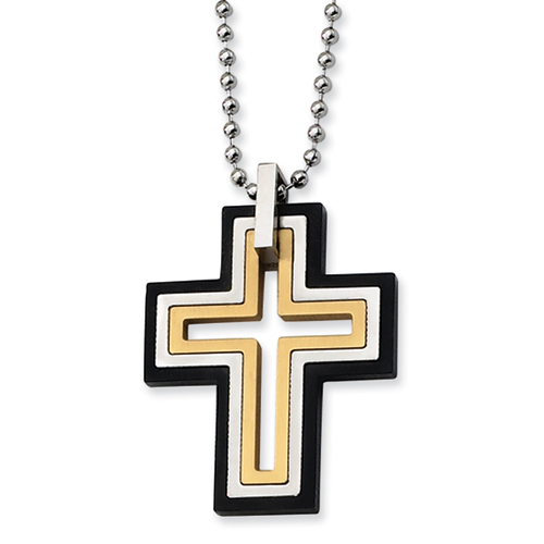 Stainless Steel Cross 1 1/2in with 22in Bead Chain