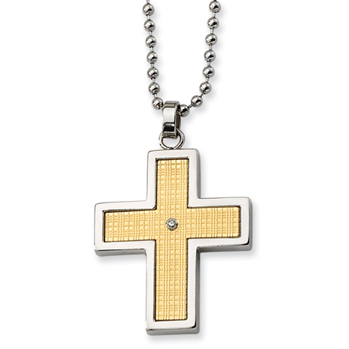 Diamond Stainless Steel Cross 1 3/8in with Bead Chain